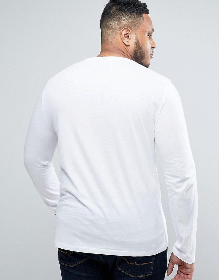 ASOS PLUS Long Sleeve T-Shirt With Crew Neck In White - White