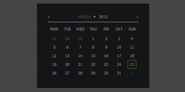 Calendar using jQuery and CSS3