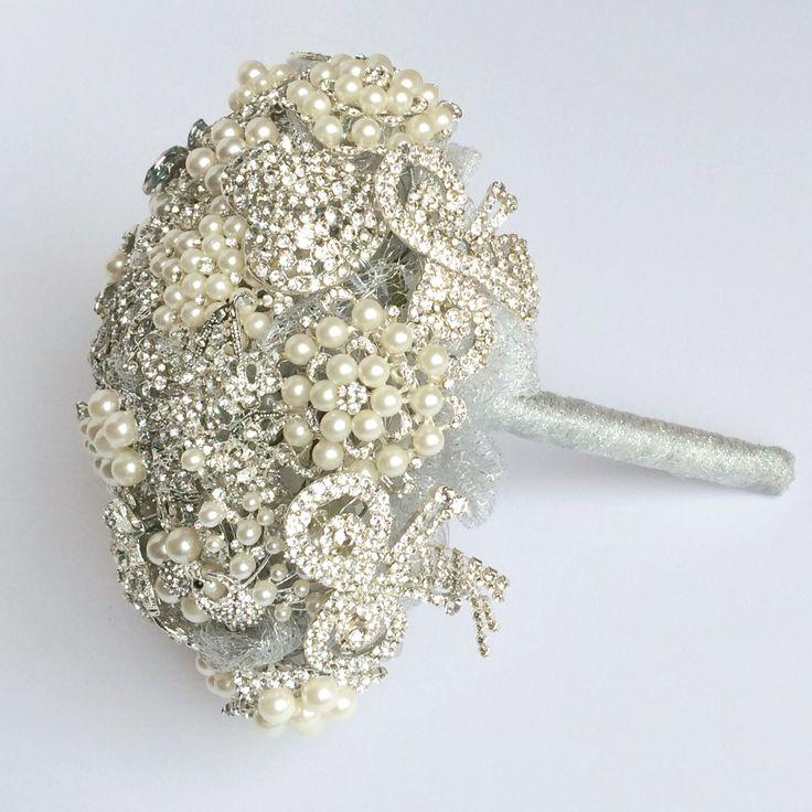 Silver diamanté and pearl Brooch Bouquet by Florio Designs