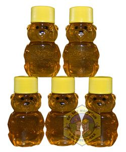 Mini Honey Bear favors - $19.95 for 40.  Don't think they include the honey itself.