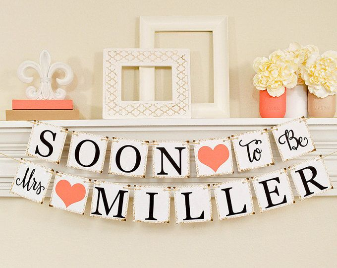 Coral Bridal Shower, Bridal Shower Banner, Soon To Be Mrs Banner, Bridal Shower Decorations, B206