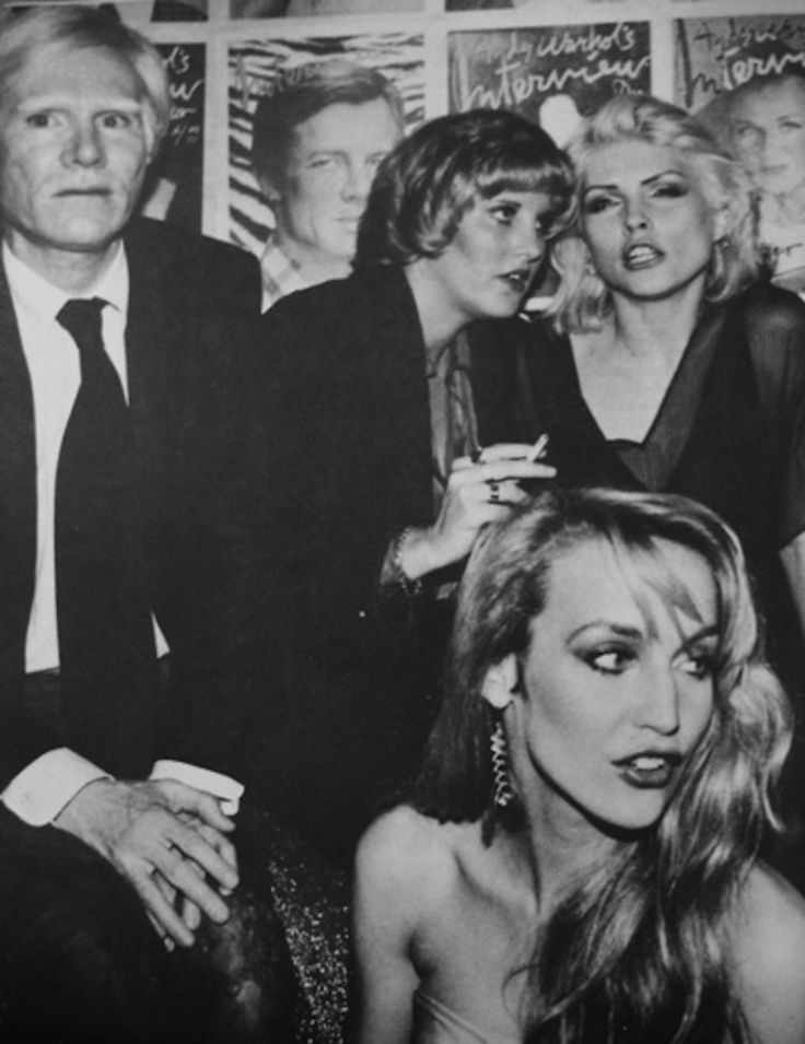 Studio 54 originals--Andy Warhol, Deborah Harry and Jerry Hall. Undated/Uncredited Image.