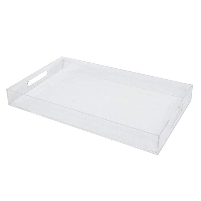 Sooyee Clear Serving Tray Spill Proof 12x20 Large Premium Rectangular Acrylic Tray Coffee Table Breakfast Tea Food Butler De Serving Tray Acrylic Tray Tray