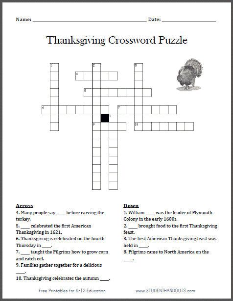 Free Printable Thanksgiving Crossword Puzzle for Kids