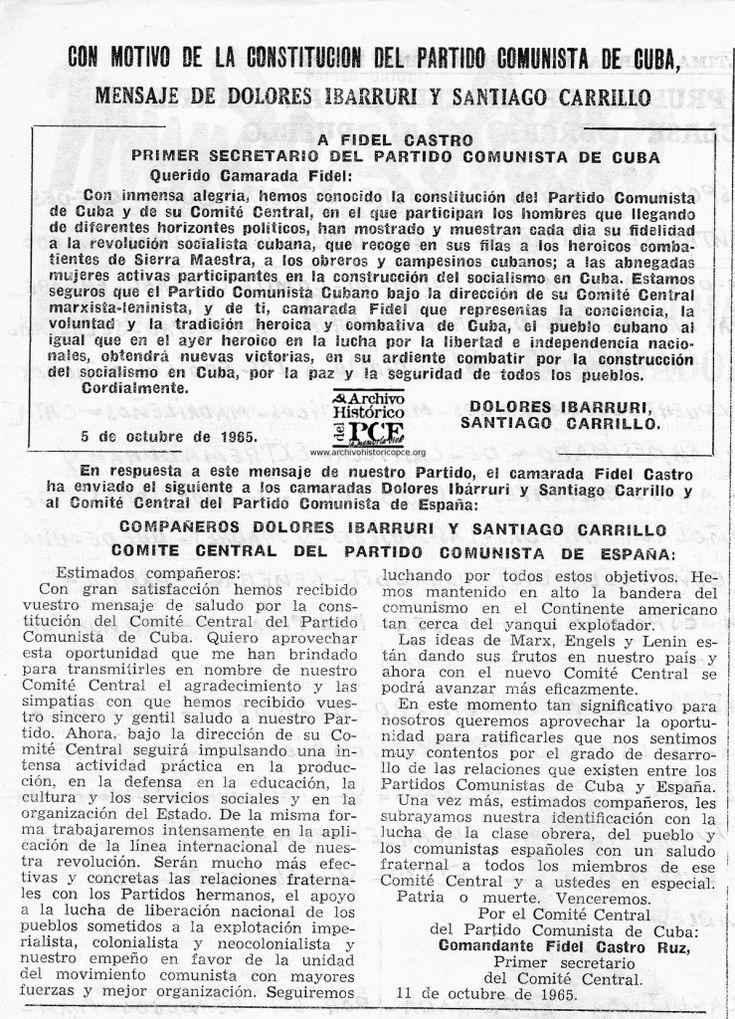 1965, Mensaje de Dolores Ibarruri y Santiago Carrillo al PCC