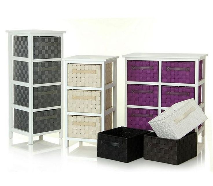 Cajoneras de 3 4 o 6 cajones. Madera. Disponibles en los colores: blanco beige chocolate gris lila multicolor o negro