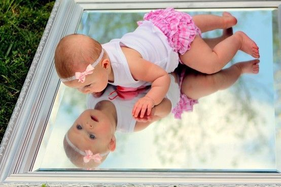 3 month old baby picture ideas, baby with mirror, mirror pictures, baby bloomers, newborn photos, photography, newborn headband