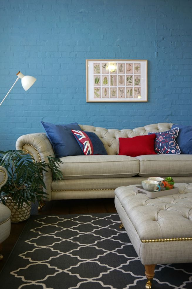 Love this chesterfield style sofa and stool collection, in muted shades with a real British feel on the scatter cushions. It's a collaboration between British brand DFS for Team GB and the Rio Olympics. Everyone needs some rest and relaxation, even athletes right? Click through to read more.