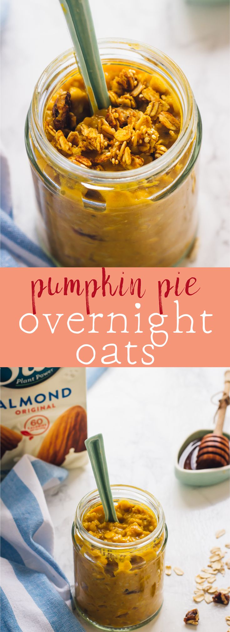These Pumpkin Pie Overnight Oats are your easiest breakfast ever! They require only 5 minutes of prep and are delicious, filling and so nutritious! via http://jessicainthekitchen.com