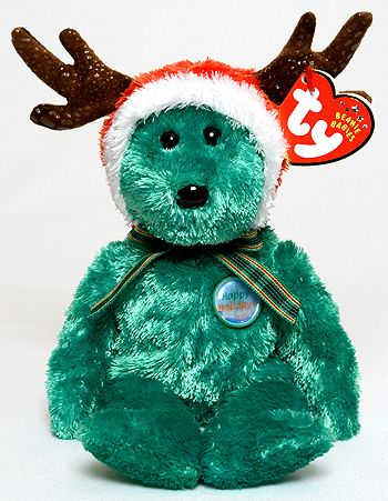 """2002. Ty Beanie Babies. """"2002 Holiday Teddy"""" (birthday December 20). This is the first Teddy to have a hologram pin."""