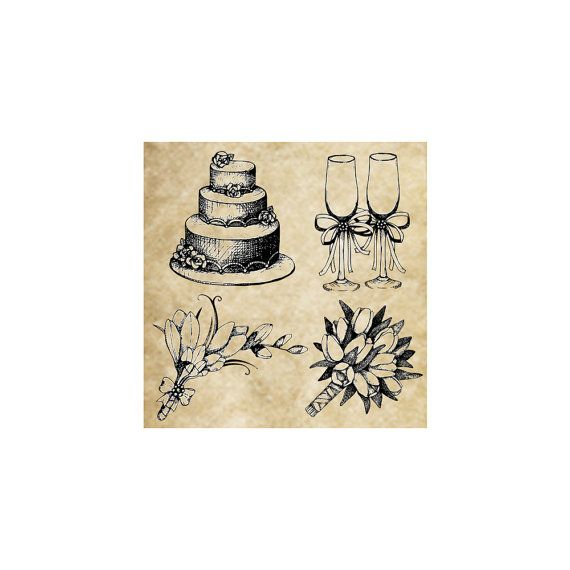 CLING STAMP-UNMOUNTED-WOOD BLOCK NOT INCLUDED. SET OF 4 CLING STAMPS WEDDING CAKE STAMPED IMAGE SIZE: 1 3/4 X 1 5/8 INCHES #57-06  CHAMPAGNE GLASSES STAMPED IMAGE SIZE: 1 5/8 X 1 1/8 INCHES #57-07  BRIDAL BOUQUET STAMPED IMAGE SIZE: 2 X 2 1/4 INCHES #57-16  TULIP BRIDAL BOUQUET STAMPED IMAGE SIZE: 1 7/8 X 1 5/8 INCHES #57-13  A wonderful set of Wedding stamps all perfectly matched for embellishing all your wedding decor. These stamps are offered as a set of ...