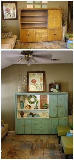 This is a great re-purpose of an old entertainment center. A little paint and you have a new storage cabinet! #repurpose #distressed #reuse