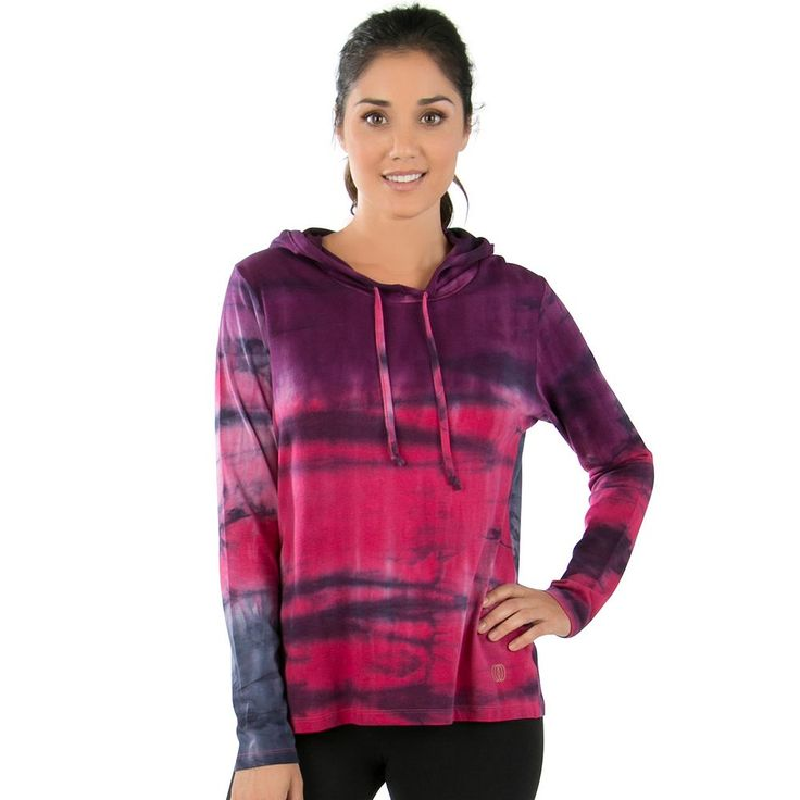 Women's Balance Collection Envelope Back Tie Dye Hoodie, Size: Medium, Purple
