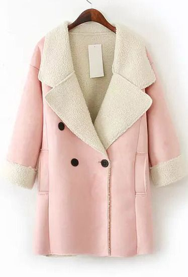 Pink Lapel Long Sleeve Pockets Suede Coat  £33!!!!! SELL FOR £70 !  www.sheinside.com