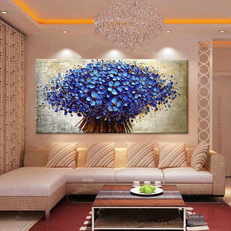 Pintura em tela buquê azul