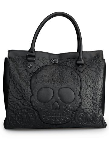 """Black on Black Skull Lattice"" Tote Handbag by Loungefly (Black) #InkedShop #handbag #skull #sugarskull #tote #gift"