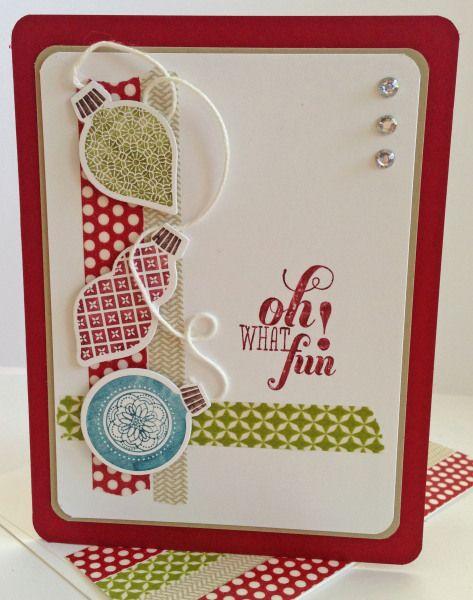 Sunday Christmas Fun--Ornament Keepsakes & Christmas Message stamp sets; Cherry Cobbler, Crumb Cake & Whisper White CS; Season of Style Washi Tape; White Baker's Twine; Basic Jewel Rhinestones, Corner Rounder punch. For Sunday Stamps #56.
