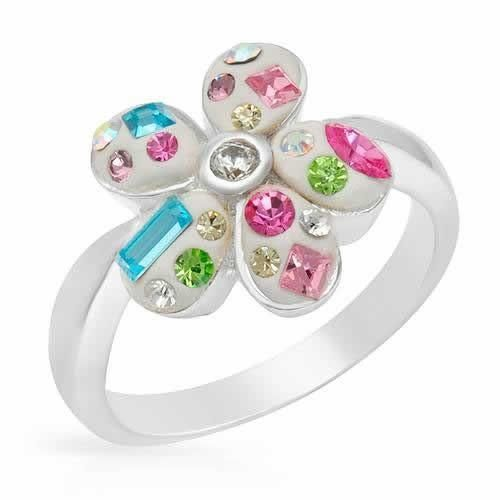 Ring With Crystals    - Size 6    Nice ring with crystals and cubic zirconia beautifully crafted in white enamel and 925 sterling silver. Total item weight 5.4g . Size 6. Gemstone info: crystal with multi-shaped and multicolor, 1 cubic zirconia, 0.05ctw., with round shape and white color.