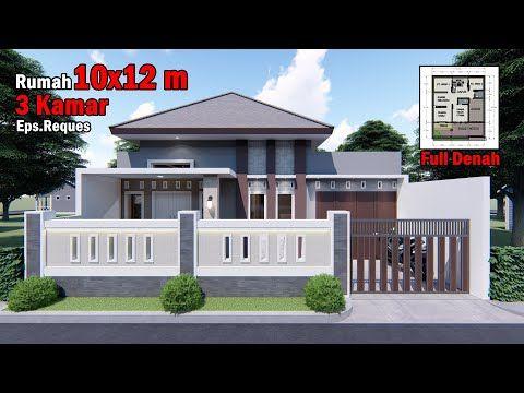 desain rumah 10x12 m dengan 3 kamar tidur - youtube