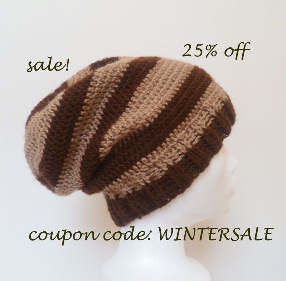 SALE Oversized Striped Brown Slouch Beanie Hat  by HappyWoollies