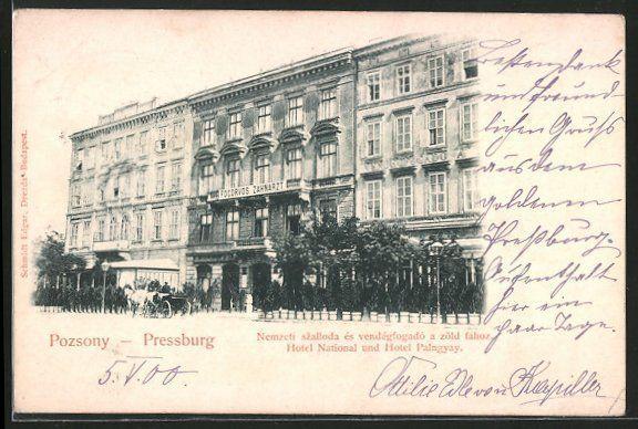 alte AK Pozsony-Pressburg, Hotel National & Hotel Palngyay 1900