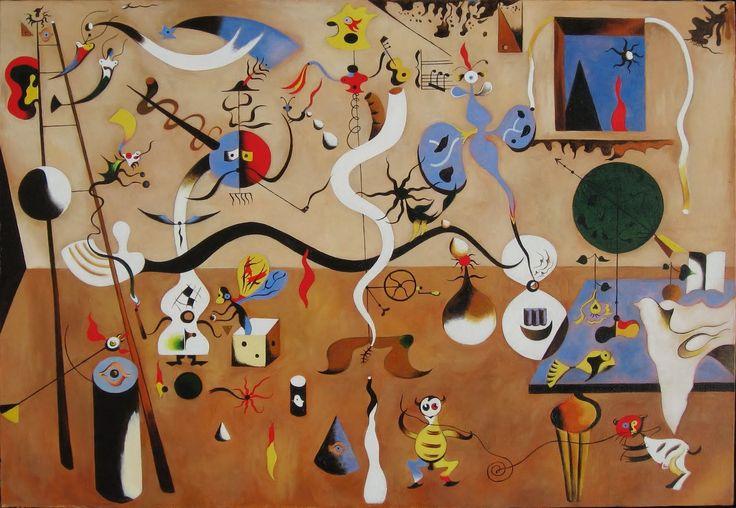 'El carnaval del arlequín' (1924).Se ha convertido en un manifiesto grafico del surrealismo orgánico. Una obra de interior, una habitación con una ventana a través de la cual vemos un paisaje. Toda ella cuajada de elementos que flotan, elementos que confortan una composición dinámica. Como hasta ahora elementos con apariencia de realidad (como insectos o animales mamíferos, ojo, escalera)… elementos con valor simbólico, por ejemplo, la escalera que es una vía de escape.