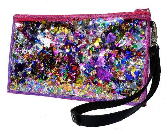 Rainbow Bag Glitter Clutch Purse Sparkly Clutch Bag Glitter Wristlet in Rainbow Rapture