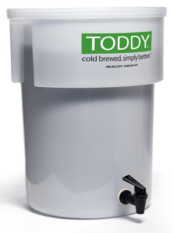 """The Toddy Commercial System uses an engineered and patented cold-water """"brewing"""" process to produce outstanding cold-brewed coffee and tea. The end product is smooth, yet full-bodied and aromatic. Many leading coffee houses are using this method because of the superior results. This non-electric brewer's claim to fame is in its ability to brew a low acid coffee - approximately 67% less acid than traditionally brewed coffees."""