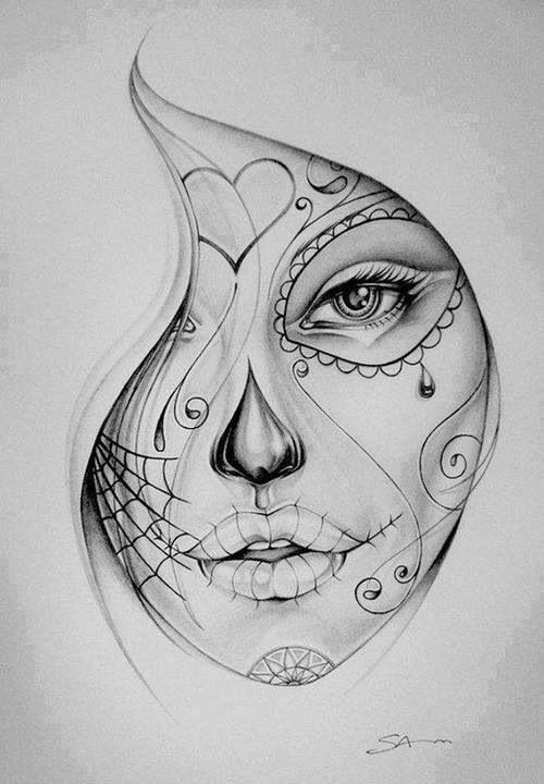 Dibujo De Mujer Pintada Al Estilo Del Dia De Los Muertos  www.FundasiPhoneBaratas.com