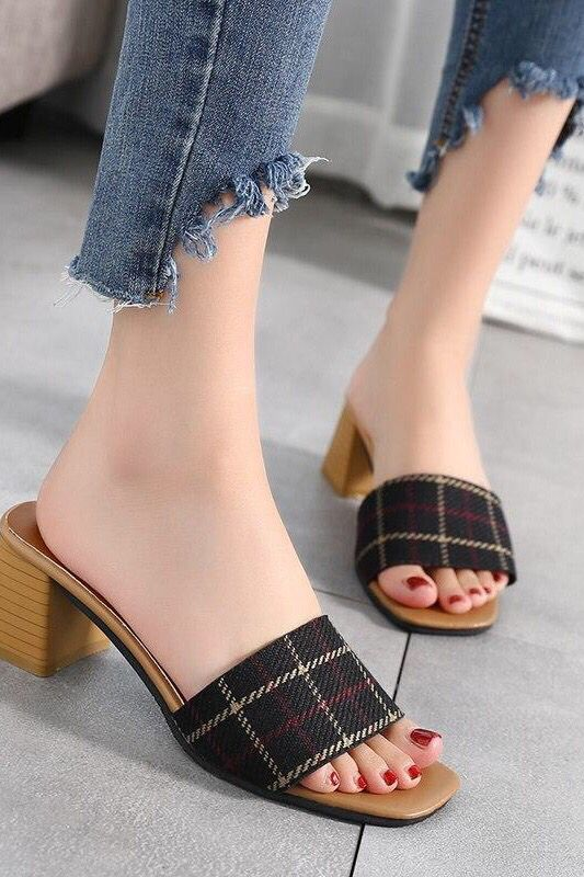 03001194cf6 Woman Footwear Peep Toe Cotton Fabric Mules Chunky Thick Heels ...