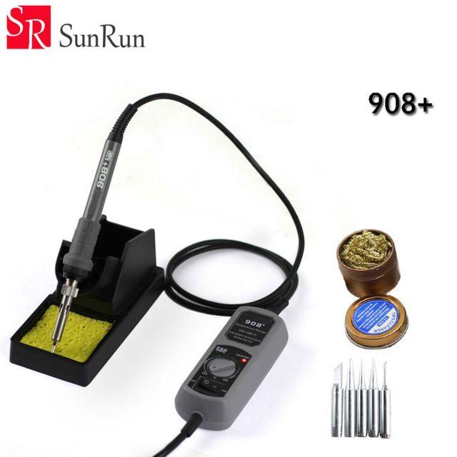 YH 908 + 60 w plancha eléctrica estación de soldadura termostato de Bolsillo mini estación de soldadura de hierro + 5 UNIDS hierro Tsui