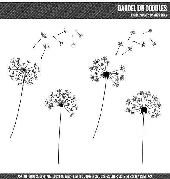 Dandelion Doodles Digital Stamps Clipart Clip Art Illustrations - instant download - limited commercial use ok