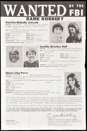 FBI Wanted poster of the Symbionese Liberation Army. Nancy Ling Perry.