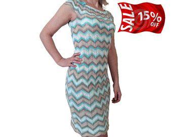 Missoni dress Cotton dress Knit dress Day dress Cute dress Beige blue dress Sleeveless dress Pastel color mini dress Summer short dress