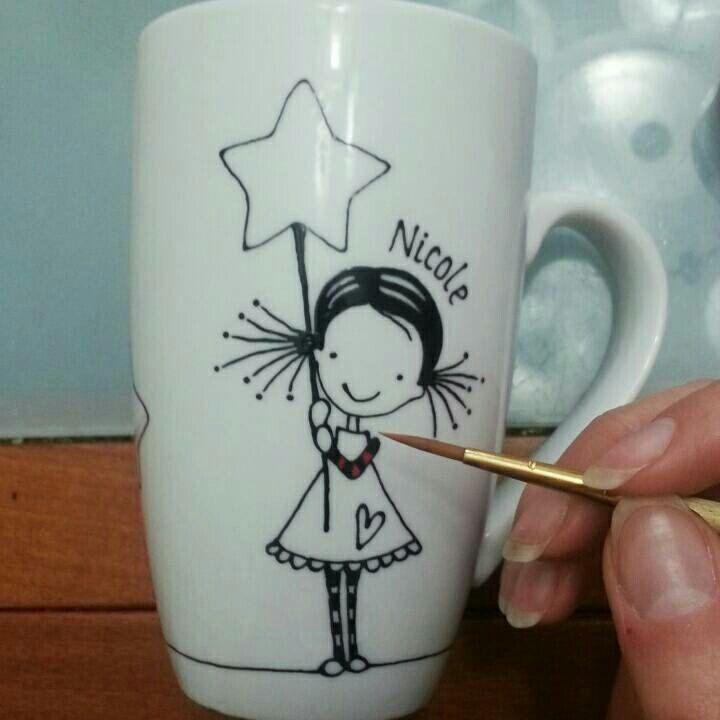 Girl with Stars, Hand Painted Porcelain Coffee Tea Mug Cup, Personalized mug, Funny Mugs, Cute Mugs, Custom Design, Gift for kids, Cute Girl