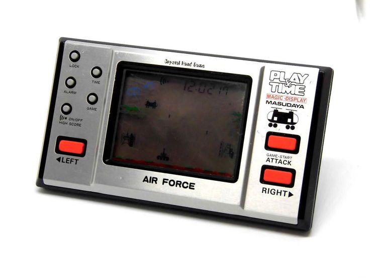 80s Retro Masudaya LCD Game Watch Play & Time  Air Force MIJ Great Condition #Masudaya