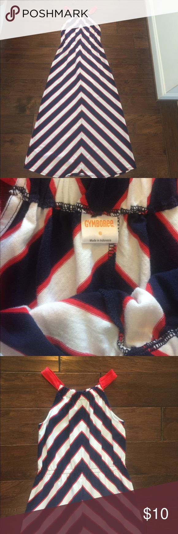 Chevron Gymboree Dress Size 6 Womens dress from Gymboree. White with red and blue chevrons. Worn once, in perfect condition! Gymboree Dresses Maxi