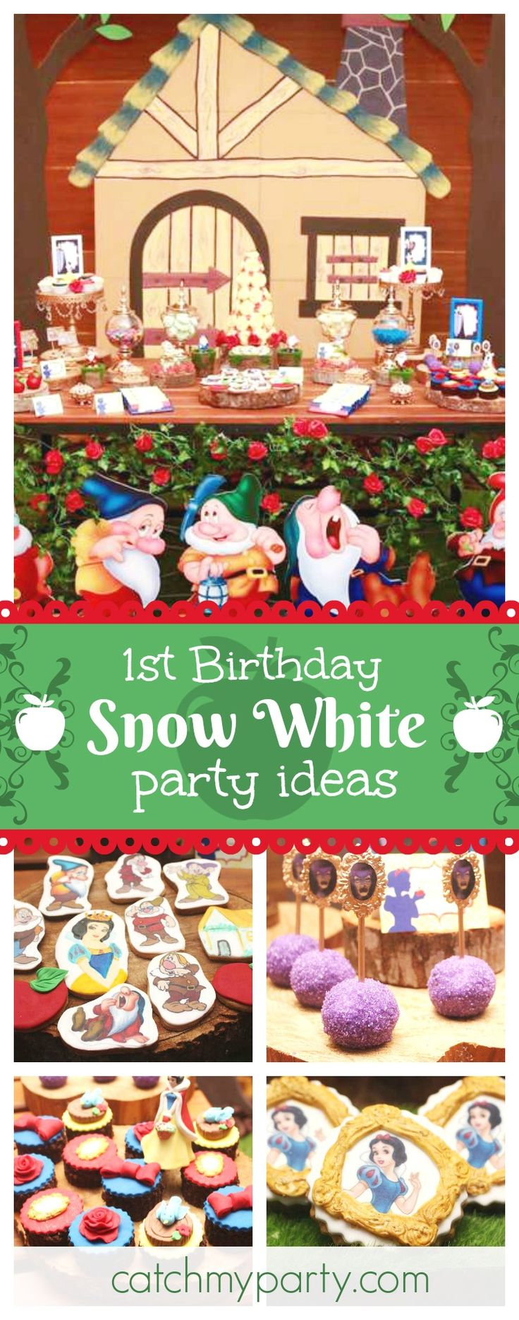 Be enchanted by this fabulous Snow White 1st Birthday party! The cupcakes are beautiful!! See more party ideas and share yours at CatchMyParty.com