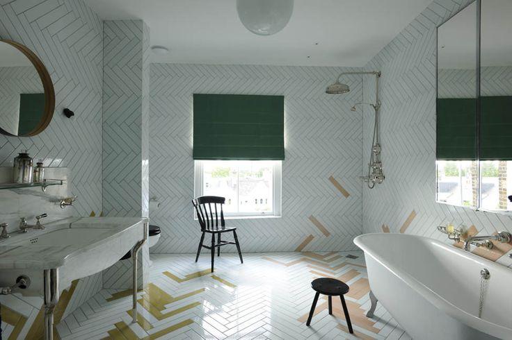 Studio Toogood, Townhouse Interior, LondonLondon Home, Herringbone Tile, Studios Toogood, Interiors Design, Bathroom Sinks, White Bathroom, Wall Tile, Bathroom Tile, Tile Pattern