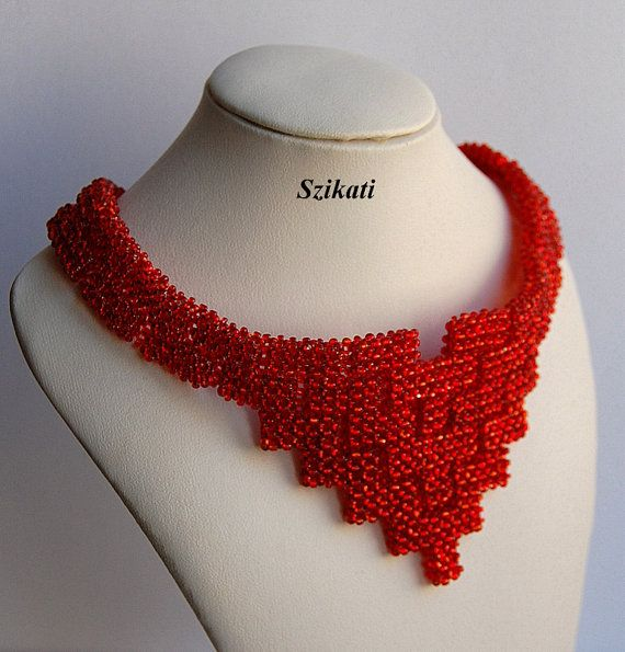Coral-red Seed Bead Bib Necklace Beaded Necklace by Szikati
