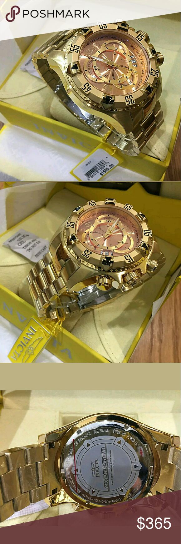 NWT $1,600 Men's Reserve Swiss Chronograph watch Brand new $1,600 Invicta Men's Reserve TOURING Swiss made Chronograph Rose Dial 18KT Gold Plated Stainless Steel Bracelet Watch.   FIRM PRICE FIRM PRICE FIRM PRICE FIRM PRICE  399.00 . AUTHENTIC WATCH  . AUTHENTIC BOX  . AUTHENTIC MANUAL    SHIPPING PLEASE ALLOW FEW BUSINESS DAYS FOR ME TO SHIPPED IT OFF.I HAVE TO GET IT FROM MY STORE.   THANK YOU FOR YOUR UNDERSTANDING. Invicta  Accessories Watches