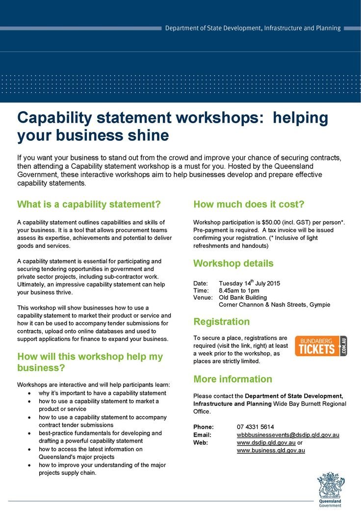 If you want your business to stand out from the crowd and improve your chance of securing contracts, then attending a Capability statement workshop is a must for you. Hosted by the Queensland Government, these interactive workshops aim to help businesses develop and prepare effective capability statements.