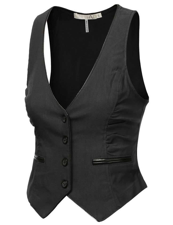 9XIS Women's Pleather Piping Button Down Vest           ($19.99) http://www.amazon.com/exec/obidos/ASIN/B00EVDMAPU/hpb2-20/ASIN/B00EVDMAPU A medium fits me just fine. - I love this vest for a classic look or to dress up jeans for a night out, etc. - Ordered a medium but return for a large.
