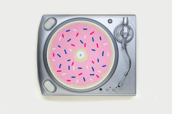 screen printed donut slipmat for turntables by FeltGoodCo on Etsy
