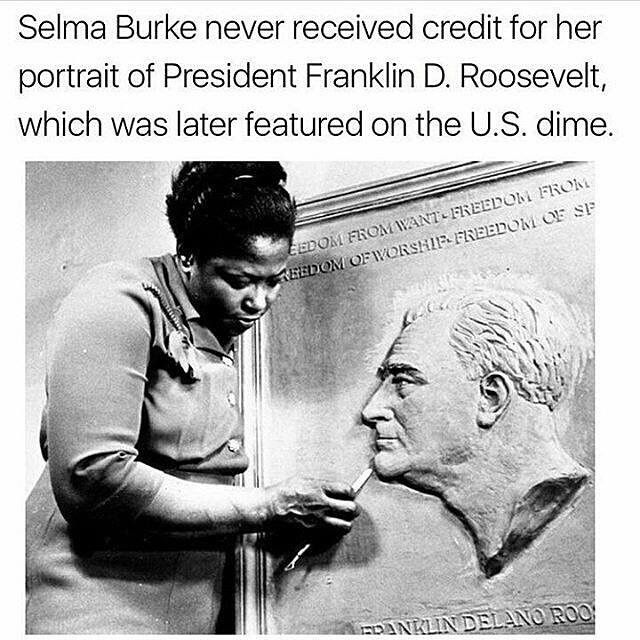 Selma Burke never received credit for her portrait of President Franklin D. Roosevelt, which was later featured on the US dime.