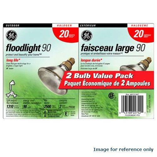 GE 2pcs. 90w 120v PAR38 Flood Outdoor Light Bulb