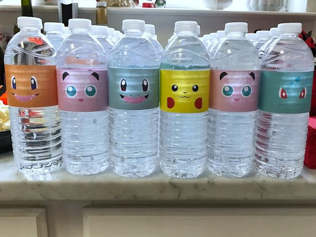 Pokémon water bottle labels for a Pokémon-themed birthday party. Click or visit FabEveryday.com to see details and DIY instructions for a Pokémon or Pokémon Go themed kid's party, including printables, food, decorations, favors, and party activities.
