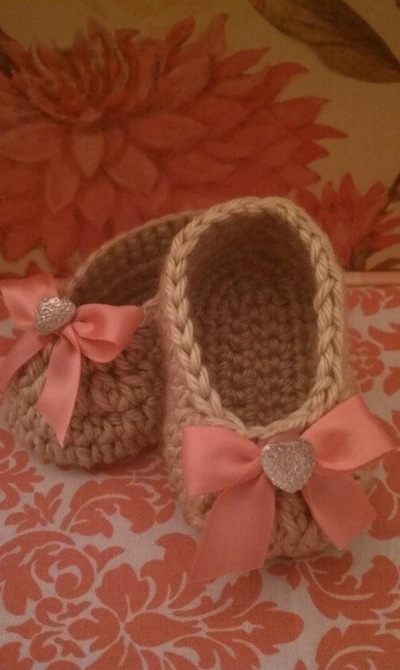 Crochet Baby Booties with Rhinestone Heart Bow
