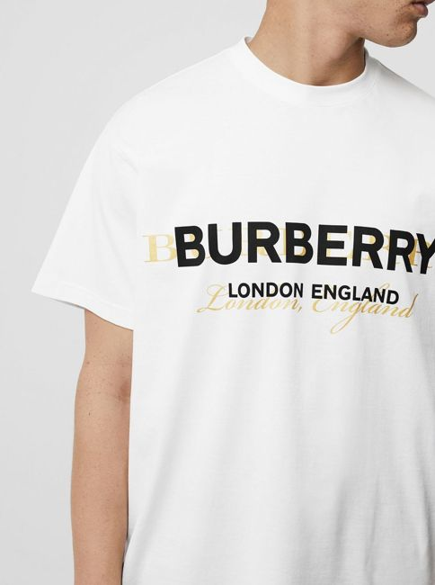 1bfd02108 A #Burberry soft cotton jersey T-shirt, updated with an overlaid logo print