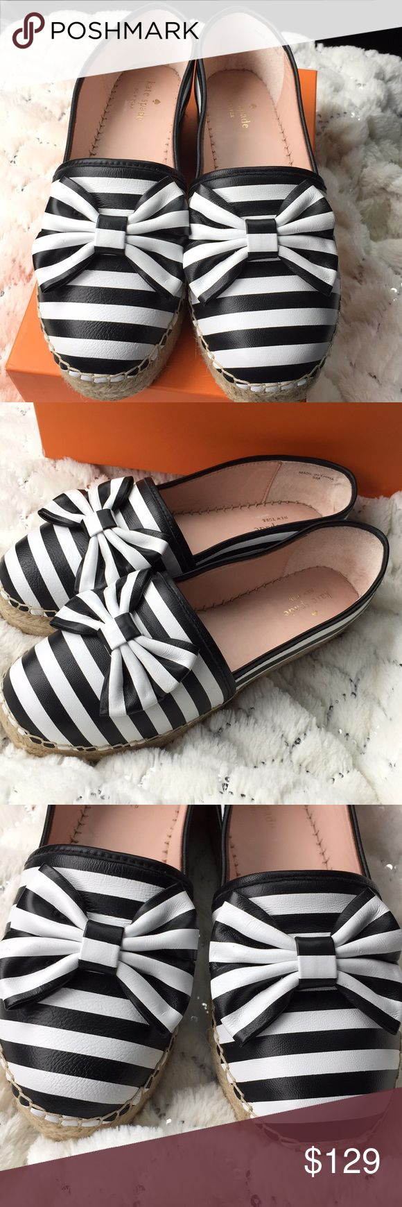 """100% Authentic Kate Spade black and white Nappa. Brand New! KATE SPADE New York.  STYLE: LINDS  Black / White Stripe Nappa Leather Upper  Slip On Bow Espadrille / Loafers  Goldtone kate spade Emblem on Heel  Round Toe  Leather Lining  Padded Insole Leather Liner  1"""" Jute Trimmed Manmade Rubber Sole  Retail Price: $150.00 + TAX  100% Authentic 🚫No trades  🚫No lowball offers  🚫No offers on already discount bundles  ✅reasonable offers are welcome. kate spade Shoes Flats & Loafers"""